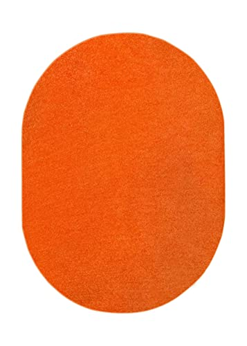 Home Queen Solid Color Indoor Area Rug Orange – 3 x5 Oval with Non Slip Backing