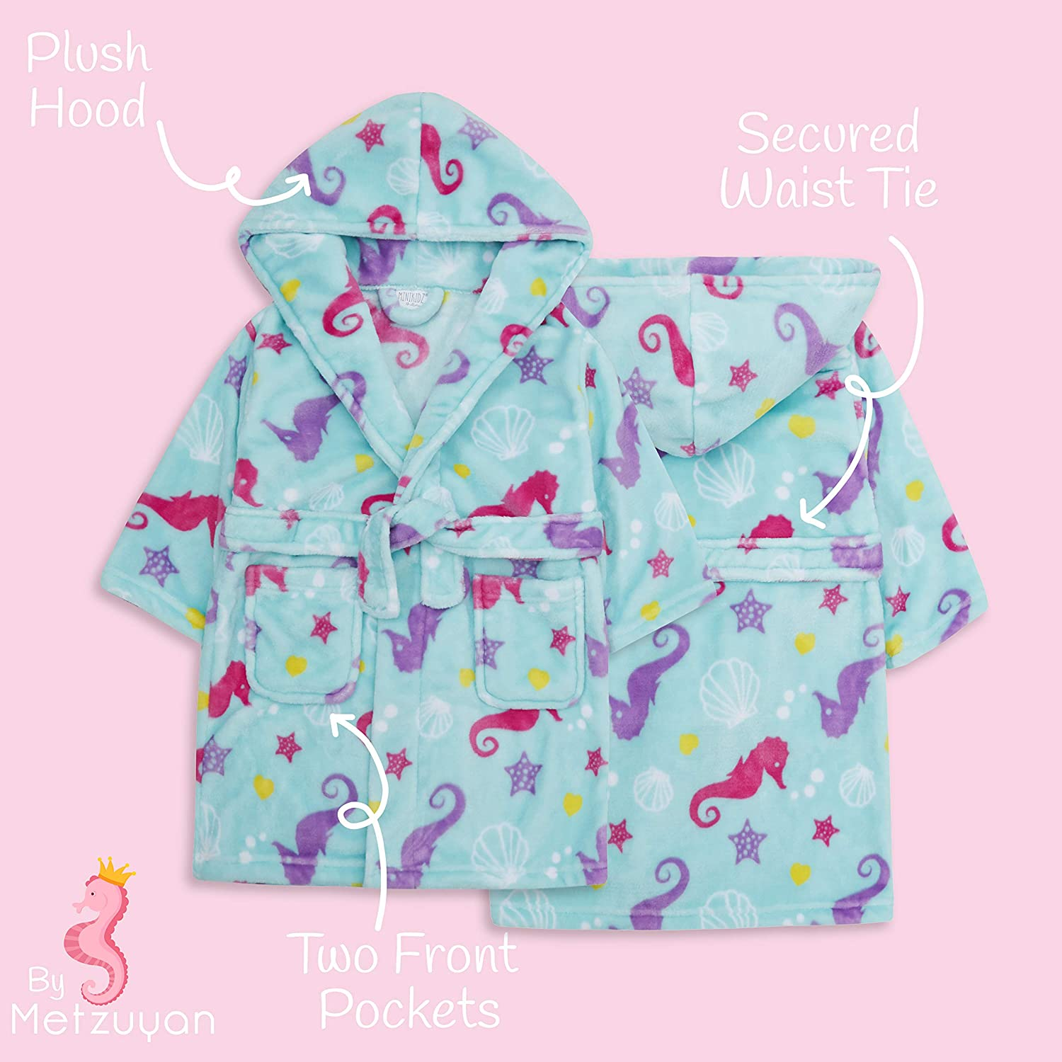 Babies Dressing Gown with Novelty Unicorn Hood ~ 6-24 Months