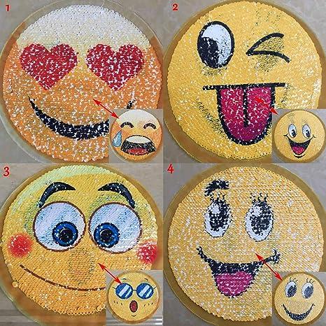 lqia 4 piezas Reversible lentejuelas parche sew Emoji en ...