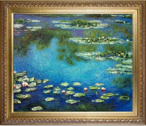 overstockArt Monet Water Lilies Painting with Elegant Wood Frame, Gold Finish