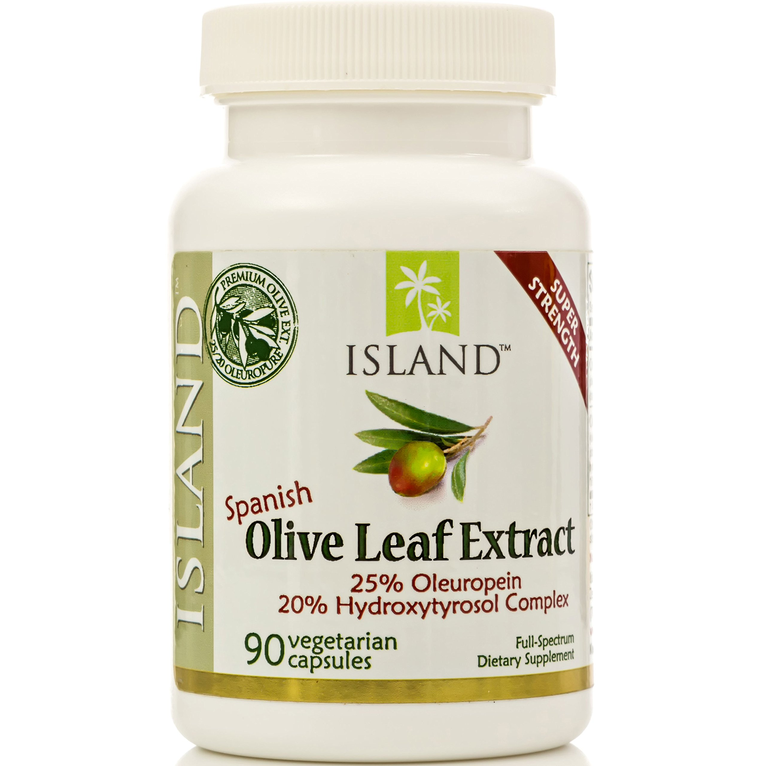 Real European Olive Leaf Extract, 25% Oleuropein - Super-Strength, 500 mg, 90 capsules, plus Hydroxytyrosol Complex. Professional-Strength from Island Nutrition®