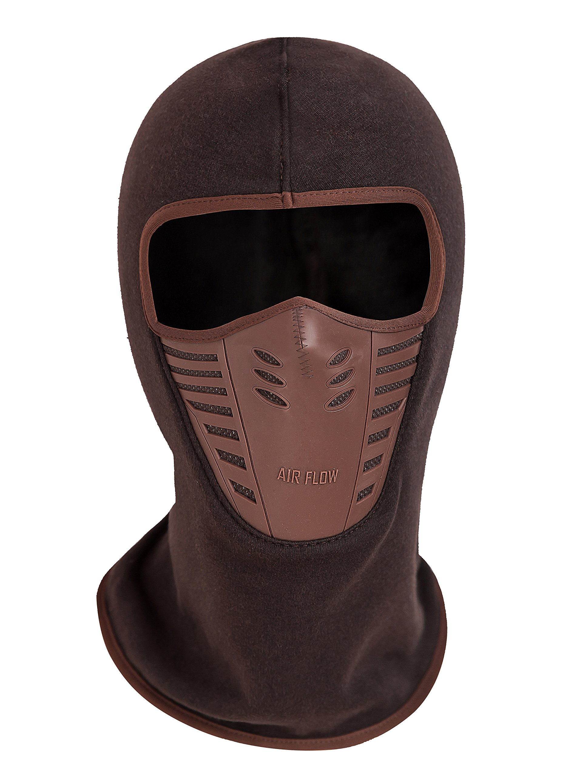 Zerd Winter Fleece Warm Full Face Cover Anti-dust Balaclava Windproof Ski Mask Hat Red Brown