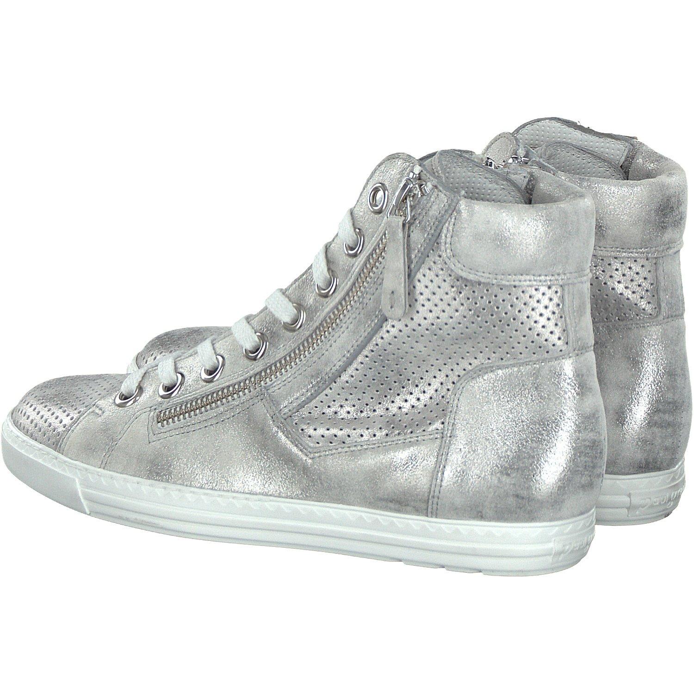 Paul Green 4247-092 Damen Sneaker Aus beschichtetem Nubukleder Sportive Sohle, Groesse 8, Silber