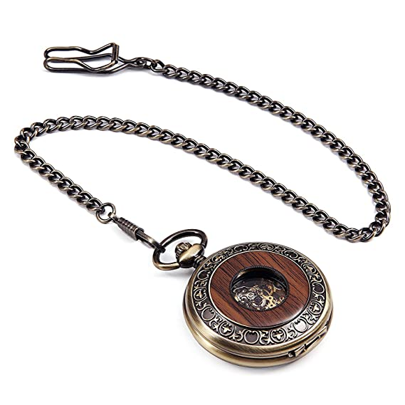 Amazon.com: Hofun Vintage Copper Wood Steampunk Mechanical Skeleton Pocket Watch with Chain Gift Box (Bronze Wood Black dial): Watches