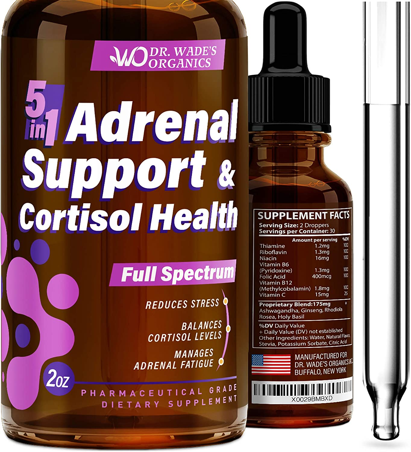 Adrenal Fatigue Support Supplement & Cortisol Manager - Liquid Adrenal Formula for 4X Absorption - Made in USA - Adrenal Daily Support - Balanced Cortisol Response - Effective Stress Relief