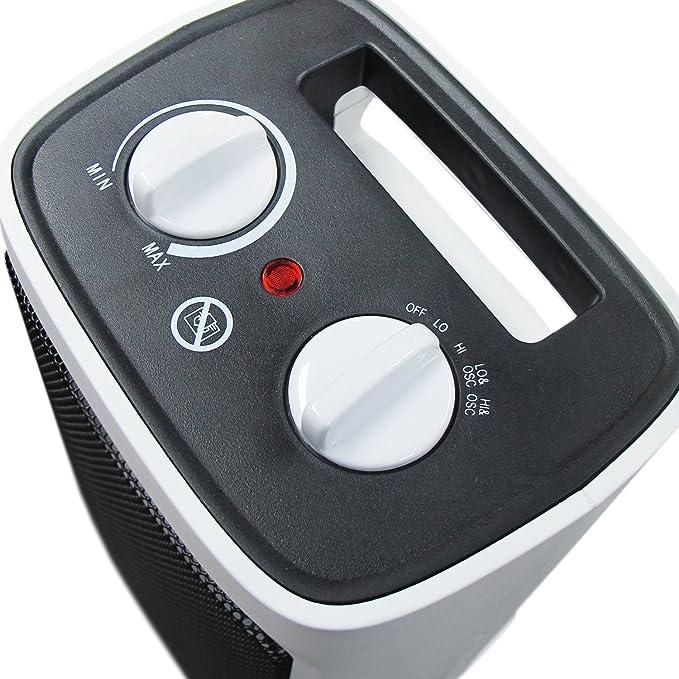 Pro Breeze Mini Calefactor Cerámico 2000W. Oscilación Automática y 2 Configuraciones de Temperatura, Blanco: Amazon.es: Hogar