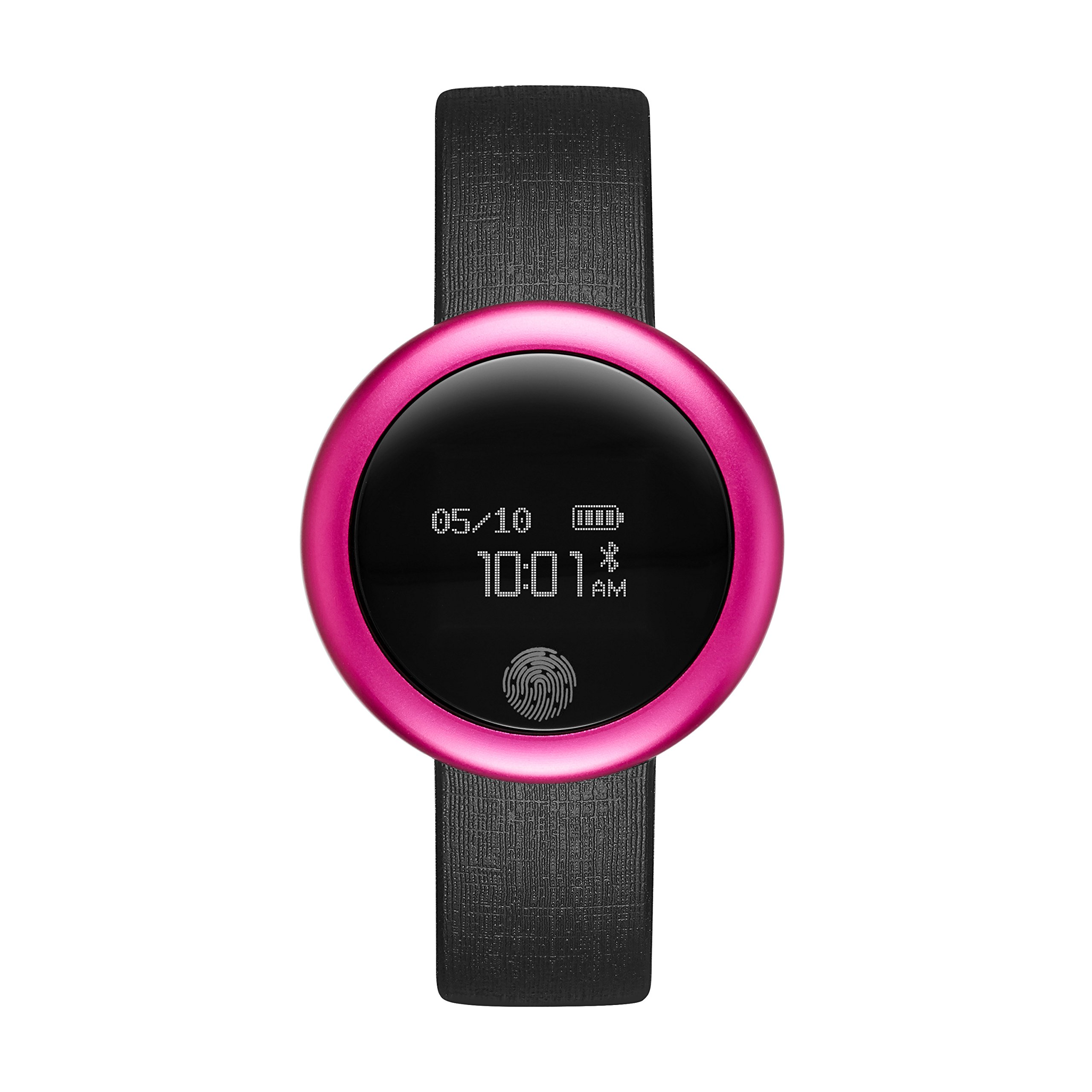 Emotion Unisex Metal and Rubber Smartwatch, Color: Bright Pink, Black (Model: FMDEM001) by eMotion