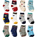 12 Pairs Toddler Boy Non Skid Socks Cute Cotton with Grips, Baby Boys Anti-skid Socks