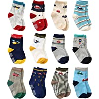 Wobon 12 Pares de Calcetines Antideslizantes para Niños Pequeños Algodón Lindo con Puños, Calcetines Antideslizantes…