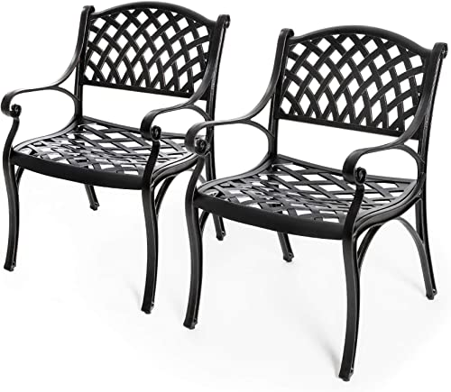 Nuu Garden Outdoor Cast Aluminum Dining Chairs, Patio Bistro Arm Chair Set of 2 – Black