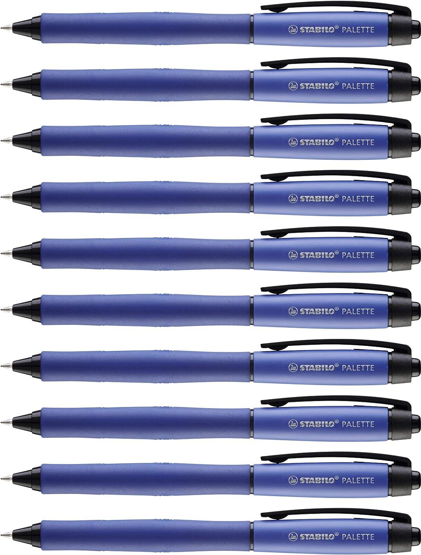 Stylo Encre Gel Lot x 10 Stylos Bleu STABILO Palette