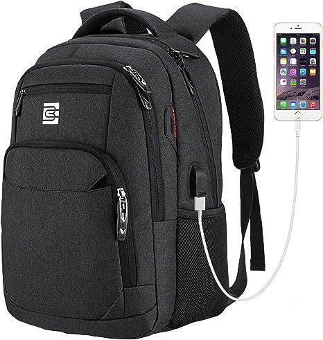 EletecPro Antivol Sac /à Dos avec USB Charging Port Sac /à Dos 20-35L Oxford daffaires Sac /à Dos 15.6 Pouces Homme Scolaire Affaire Fonctionnel Sac a Dos PC Portable pour Loisirs