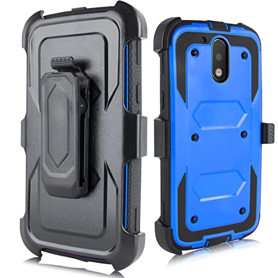 pretty nice 0dea1 7f174 Moto G4 Case, Moto G4 Plus Case, Heavy Duty Armor Shockproof Protection  Case Cover Belt Swivel Clip Kickstand Motorola Moto G4 Plus(2016) (Blue)