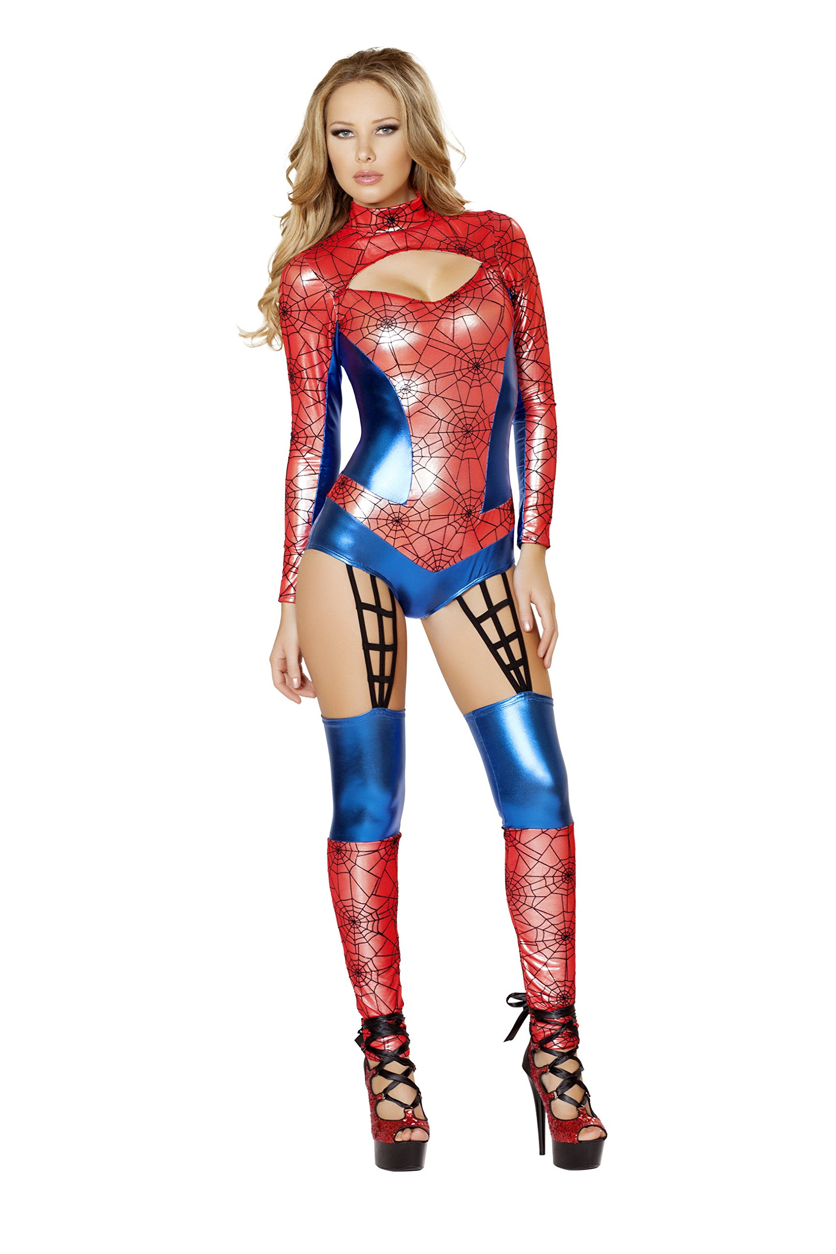 - 81FxPdKshOL - 1 Piece Miss Spiderman Superhero Red & Blue Jumpsuit Costume