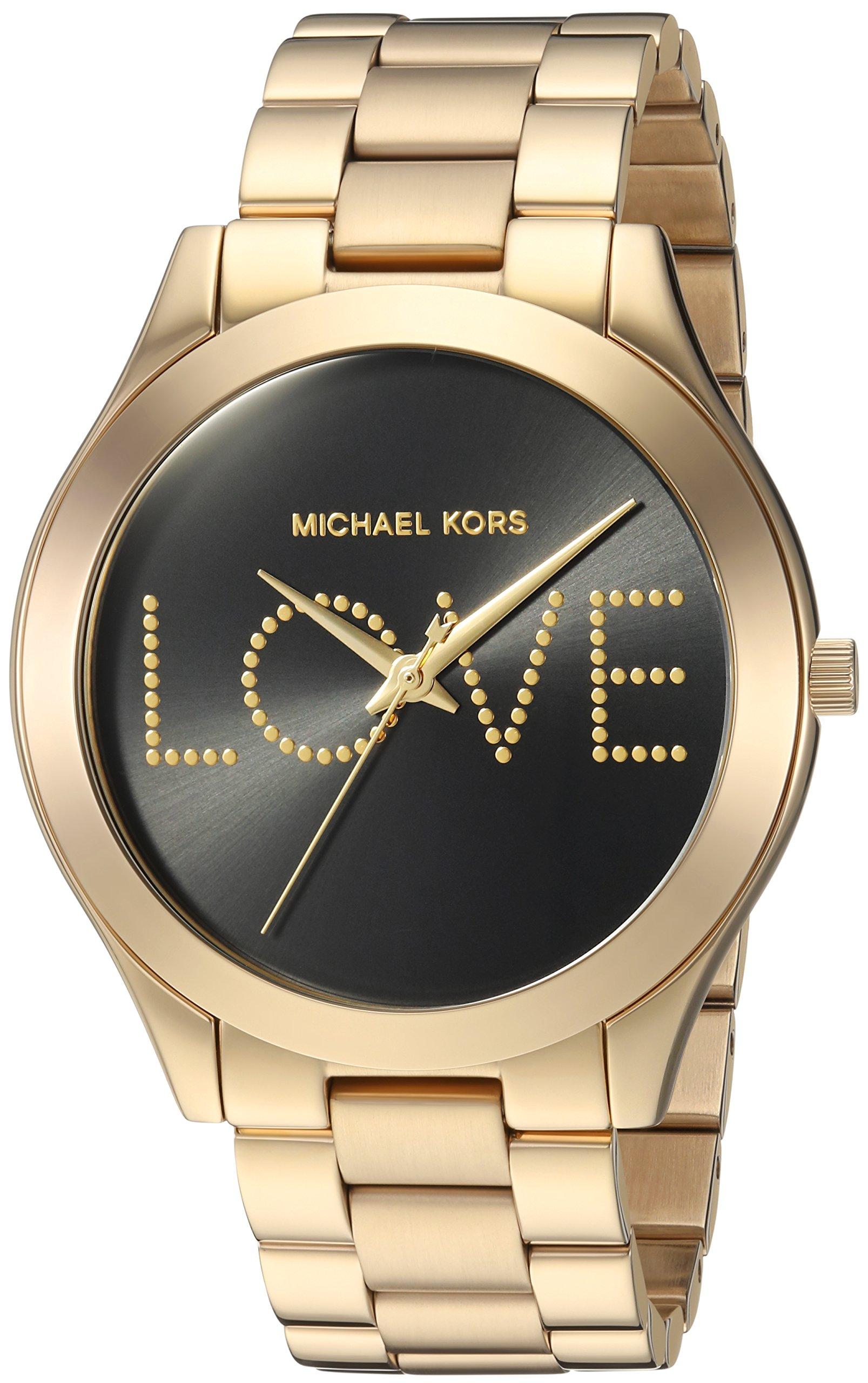 Michael Kors Women's 'Slim Runway' Quartz Stainless Steel Casual Watch, Color:Gold-Toned (Model: MK3803)