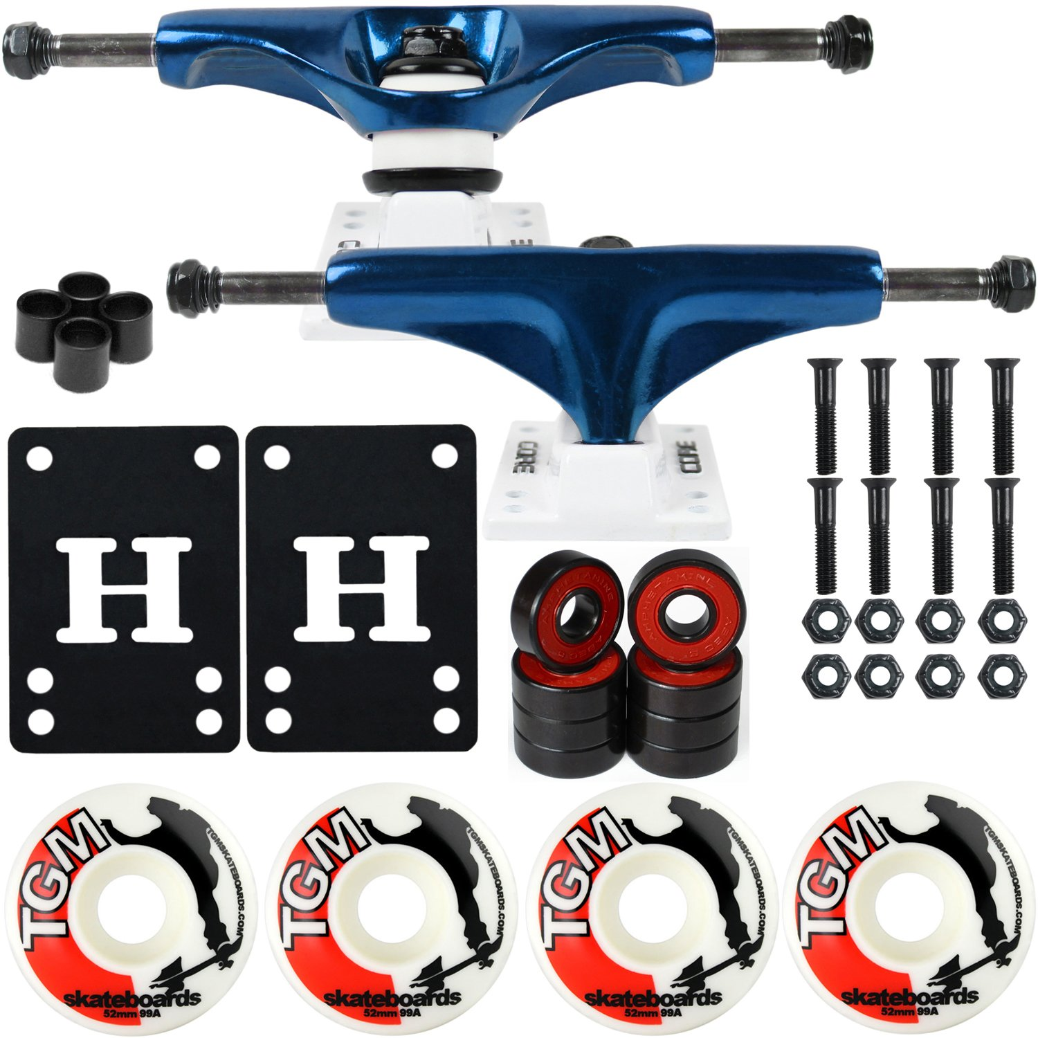 CORE Skateboard Package 5.0'' Trucks 52mm with White Wheels + Components (Metallic Blue Hanger/White Base) by CORE