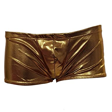 953c599994d1a3 SODIAL(R) Mens Shiny Low Rise Boxer Brief Stretch Underwear Thong - Metallic  Golden