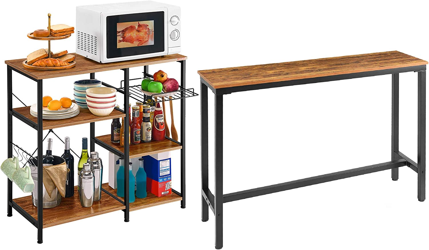 "Mr IRONSTONE 55.1"" Bar Table Pub Dining Height Table Vintage Bistro Table (Indoor USE ONLY) & Kitchen Baker's Rack Vintage Utility Storage Shelf Microwave Stand 3-Tier+3-Tier Table"