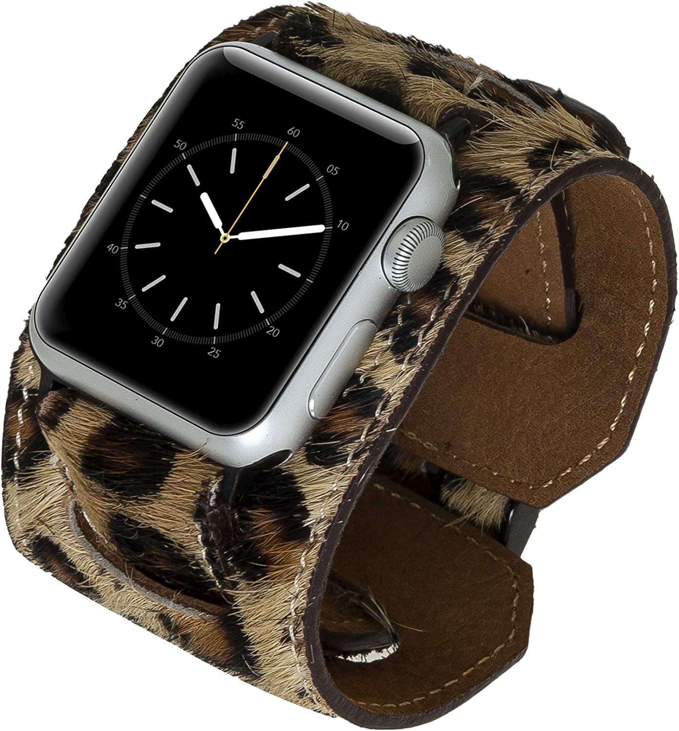 Venito Ancona Cuff Leather Watch Band Compatible with Apple Watch iwatch Series 1,2,3,4,5,6, and SE (Furry Leopard w/Black Connector&Clasp, 38mm-40mm)