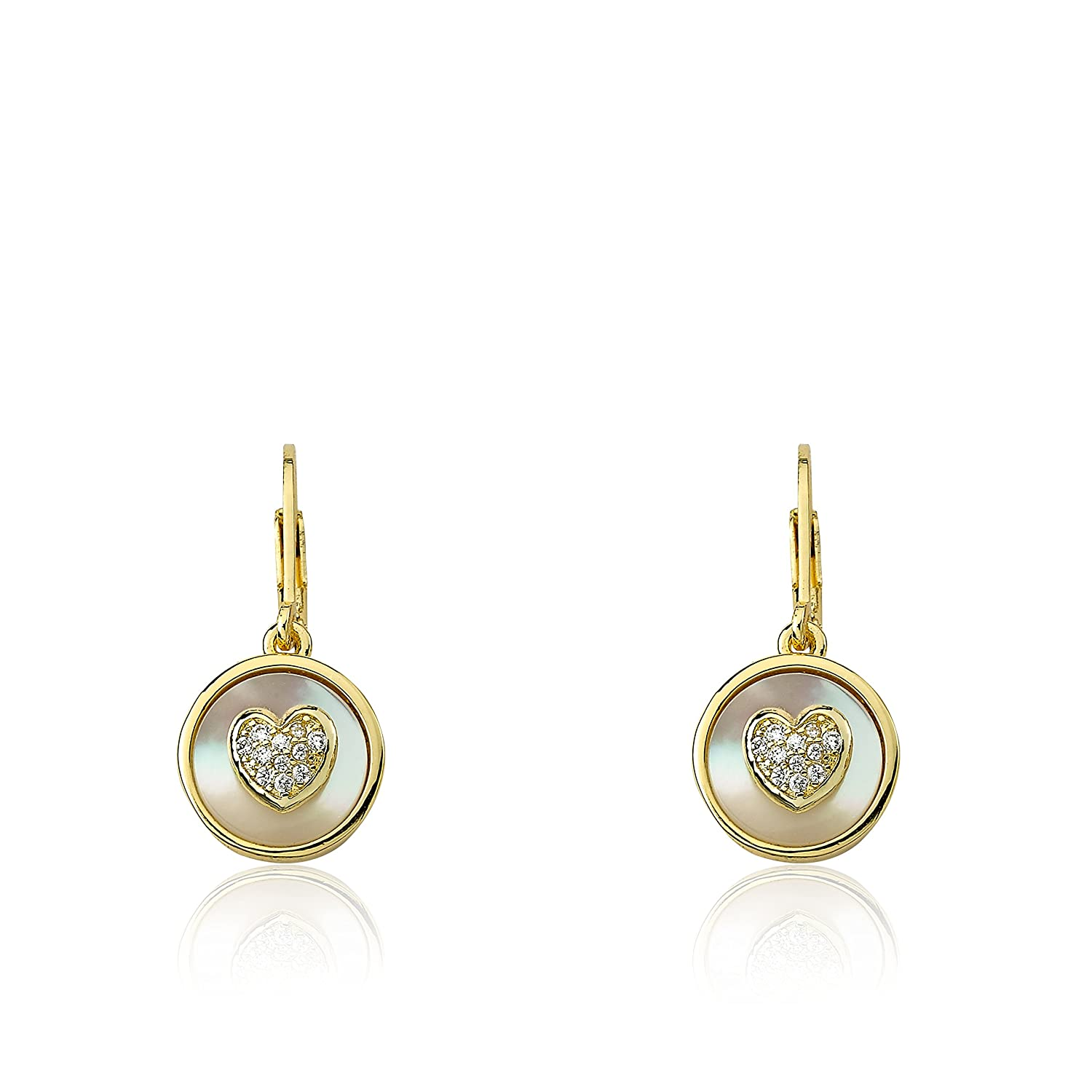 Little Miss Twin Stars Little Miss Flower Girl 14k Gold-Plated Coin Pearl Accented With CZ Heart Dangle Leverback Earring//