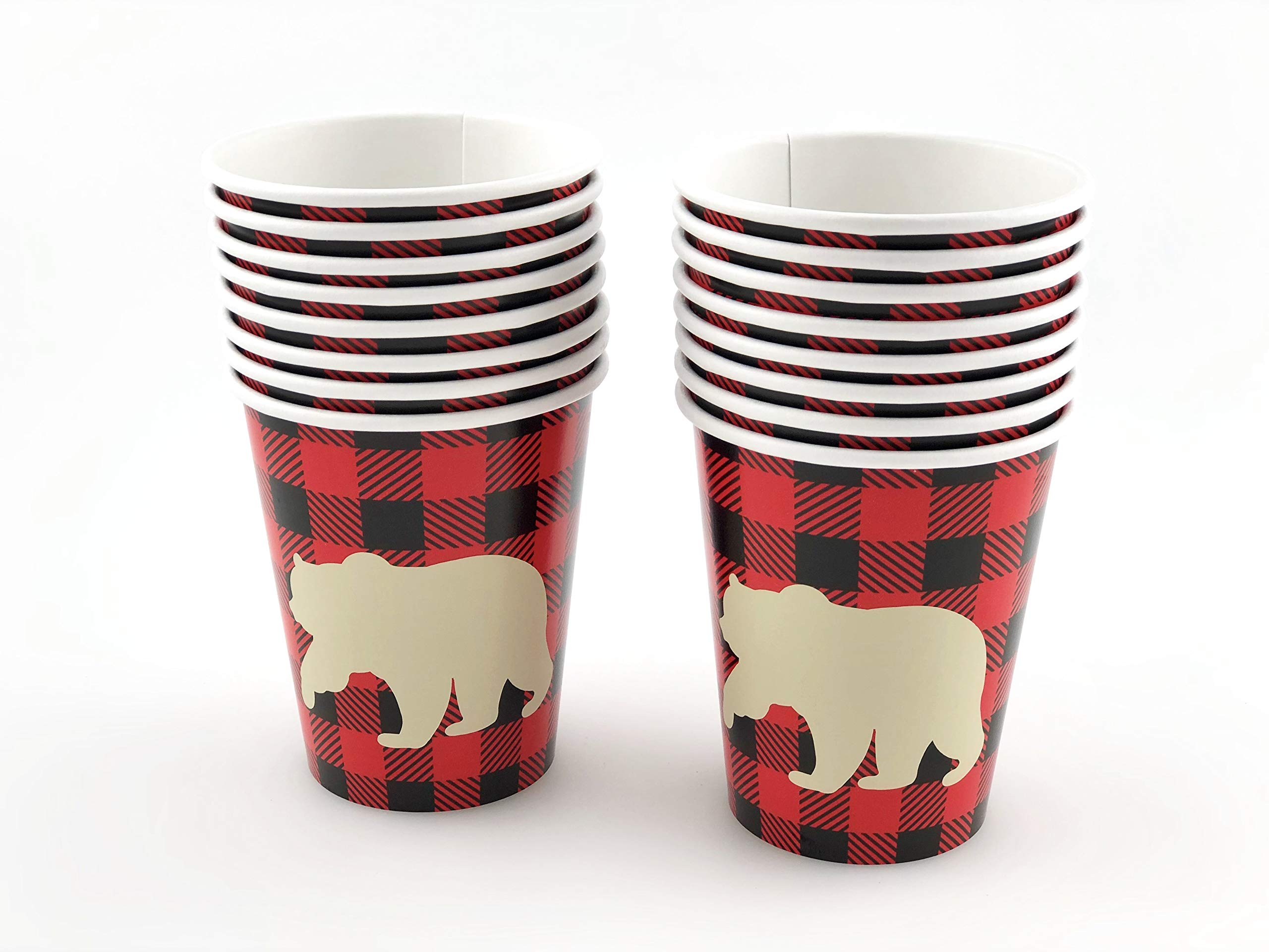 Bear Cups - 16 Set Buffalo Plaid Lumberjack Party Supplies Birthday Baby Shower by Stesha Party