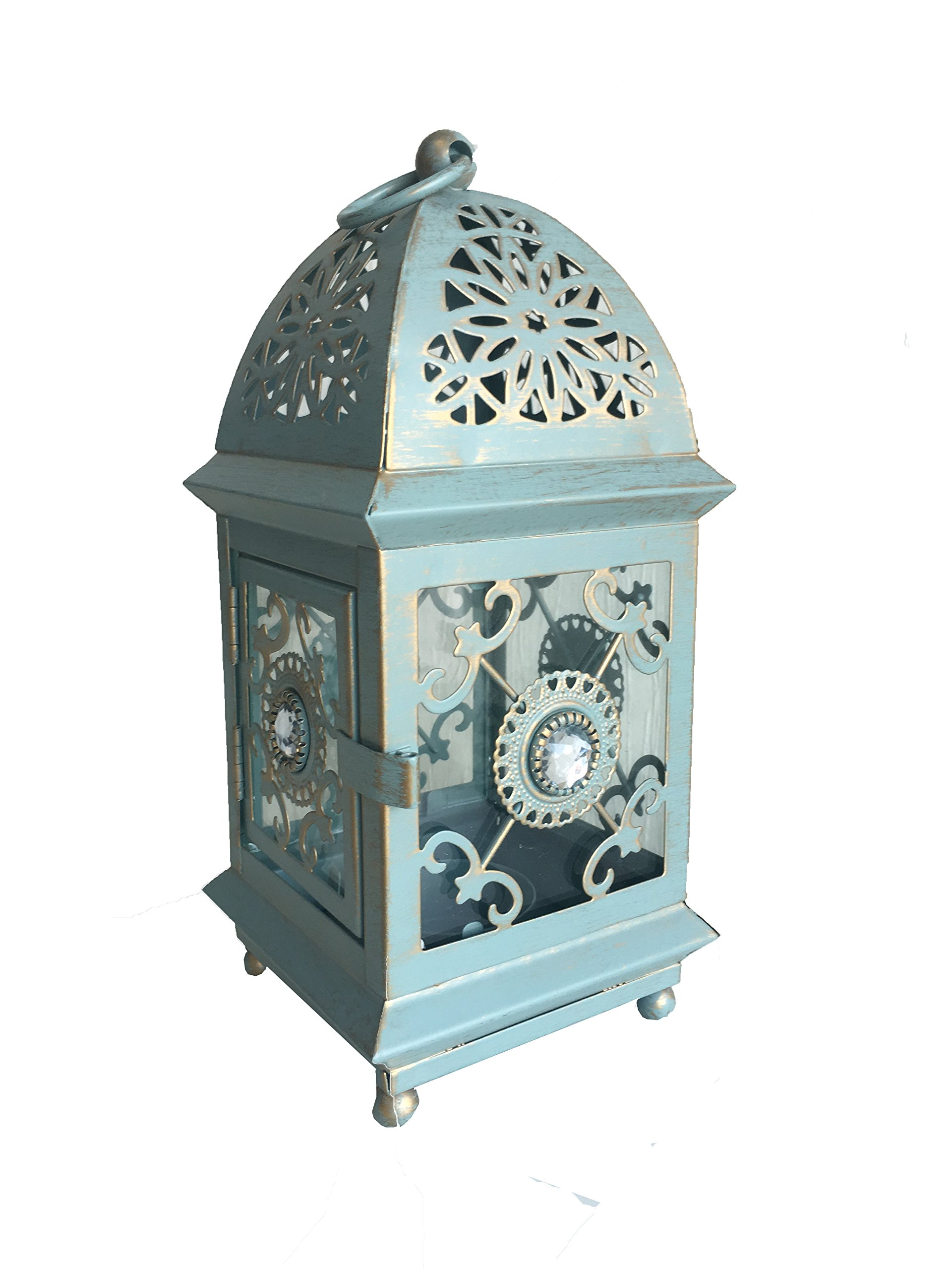 Gifts & Decor SIKOO Antique Style Distressed Metal Carved Candle Lantern Holder Candle Holder Hanging Lantern,Blue,8.2 Inch