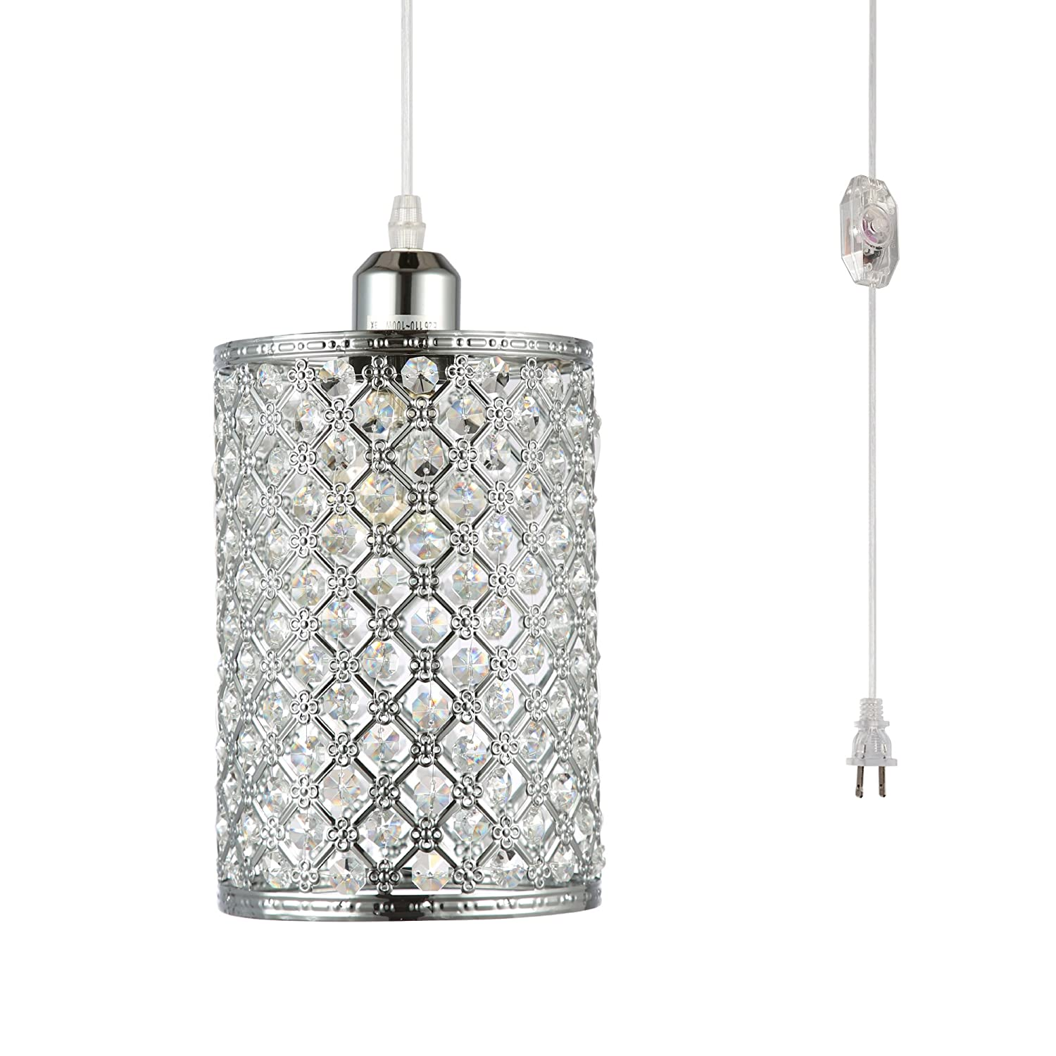 Hmvpl plug in pendant lighting fixtures with long hanging cord and dimmer switch modern crystal hanging chandelier sparkly swag ceiling lamp for kitchen