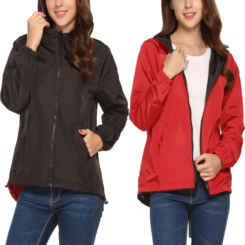 Meaneor Womens Rainwear Waterproof Lightweight Hooded Rain Coats Windbreaker, S-XXL