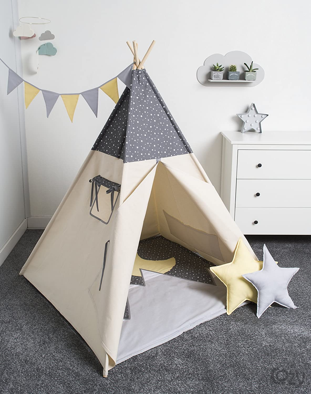 Handmade Spielzelt, Kinderzelt, Indianisches Tipi Zelt, handmade, spielzelt, tipi, kinderzelt, play tent, kids tent, teepee, tipi, indianischeTeepee Moonlight set 6 Elemente