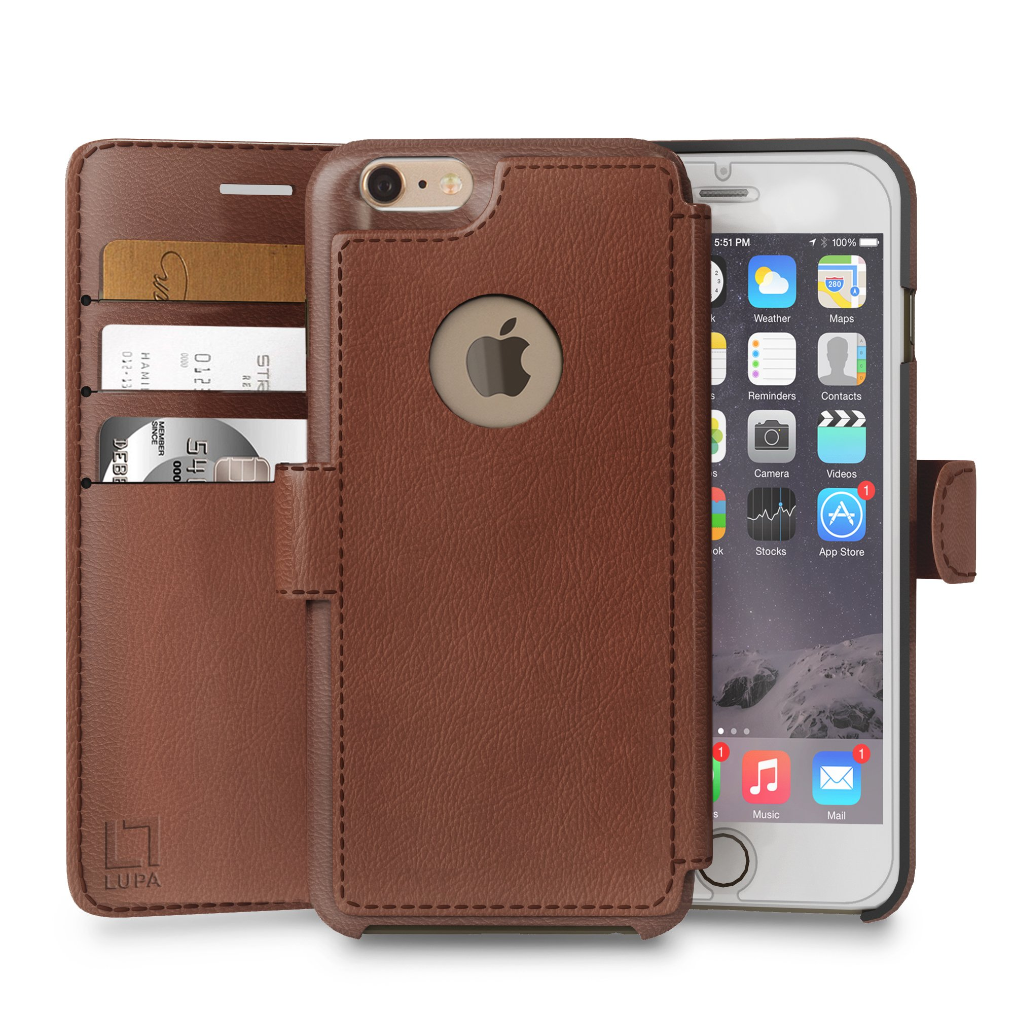 iPhone 6,6s Wallet Case,Durable and Slim, Lightweight with Classic Design & Ultra-Strong Magnetic Closure, Faux Leather, Light Brown, Apple 6/6s (4.7 in)