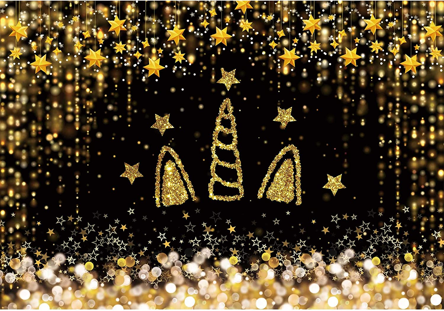 Haboke 7x5ft Soft Wrinkle Free Fabric Black and Gold Unicorn Backdrop Shining Star for Photography Baby Newborn Birthday Party Supplies Background Decorations Party Studio Props
