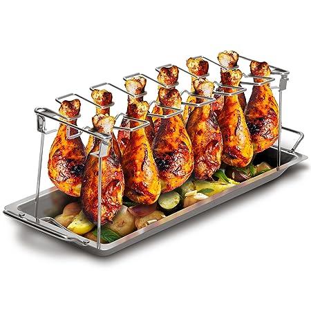Grill Republic Premium Hähnchen-Halter (BBQ-Rack) I Hähnchenschenkelhalter aus Edelstahl für bis zu 12 Keulen l Platzsparende