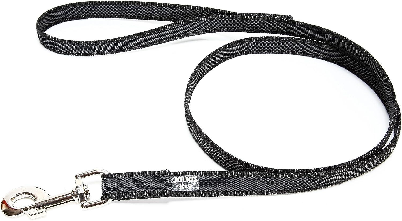 Julius-K9 216GM-S2 Color & Gray Correa de Perro del Estupendo-Apretón con Asa, 20 mm x 2 m, Negro y Gris