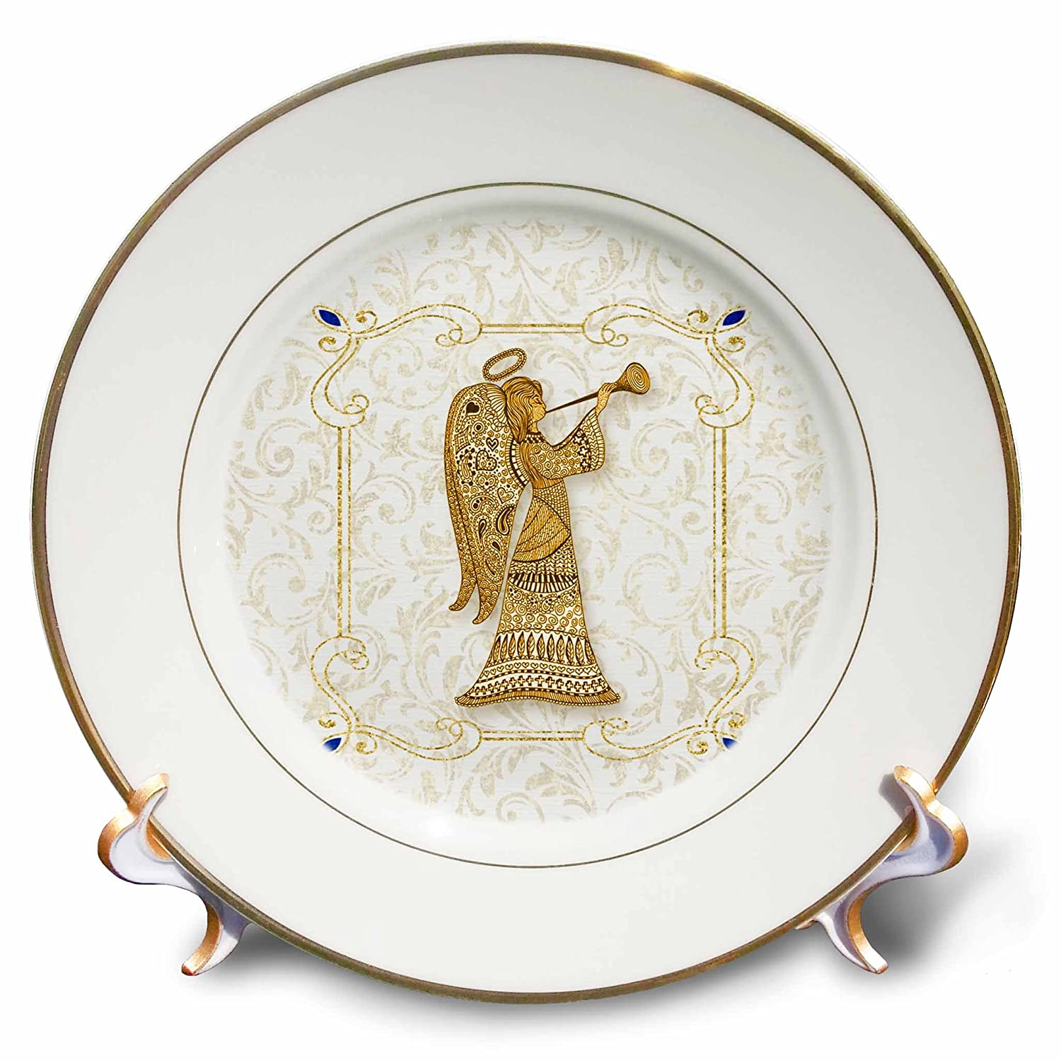3dRose Doreen Erhardt Christmas Collection - Golden Christmas Angel with Blue Accents and Elegant Damask - 8 inch Porcelain Plate (cp_262626_1)