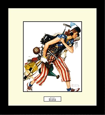 Norman Rockwell Miss Liberty Framed Wall Hanging Art Gift