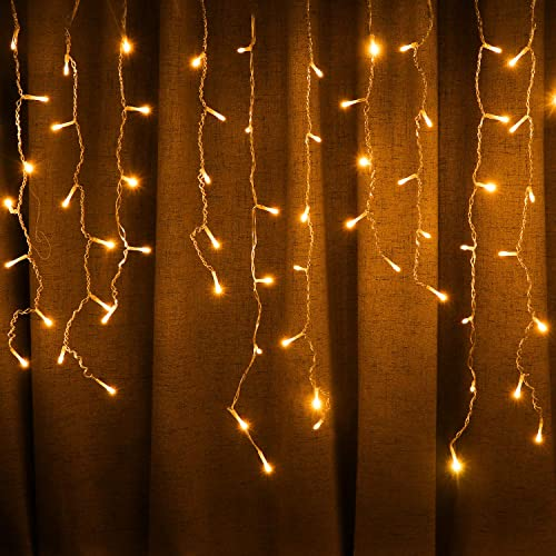 LED Solar Icicle String Lights,36Ft 11M 264 LEDs Waterproof Extendable Curtain Icicle Lights Plug in Fairy String Lights Christmas Lights for Bedroom Patio Yard Garden Wedding Party Warm White