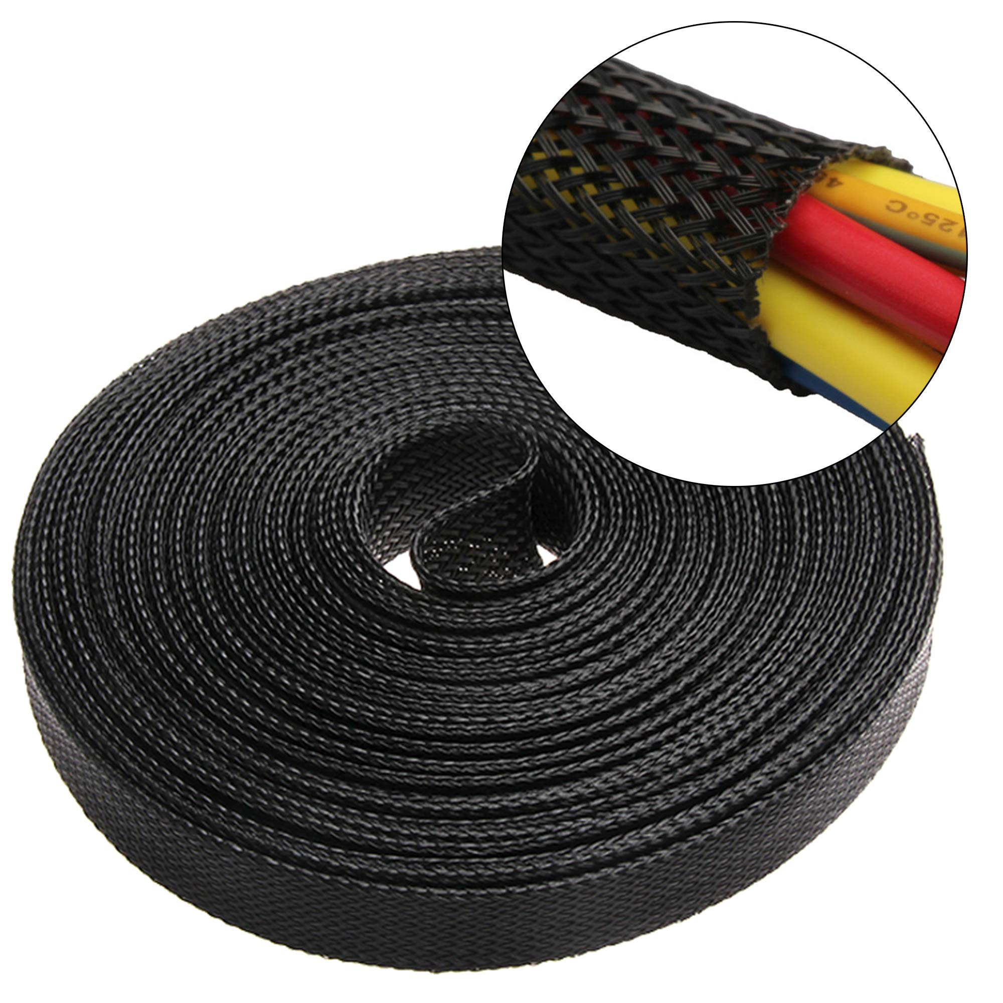 100ft -1-1/2 inch Flexo PET Expandable Braided Sleeving braided cable sleeve