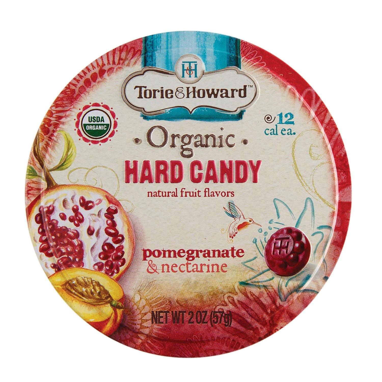 Torie & Howard Organic Hard Candy Pomegranate & Nectarine 2 oz tin (Pack of 8)