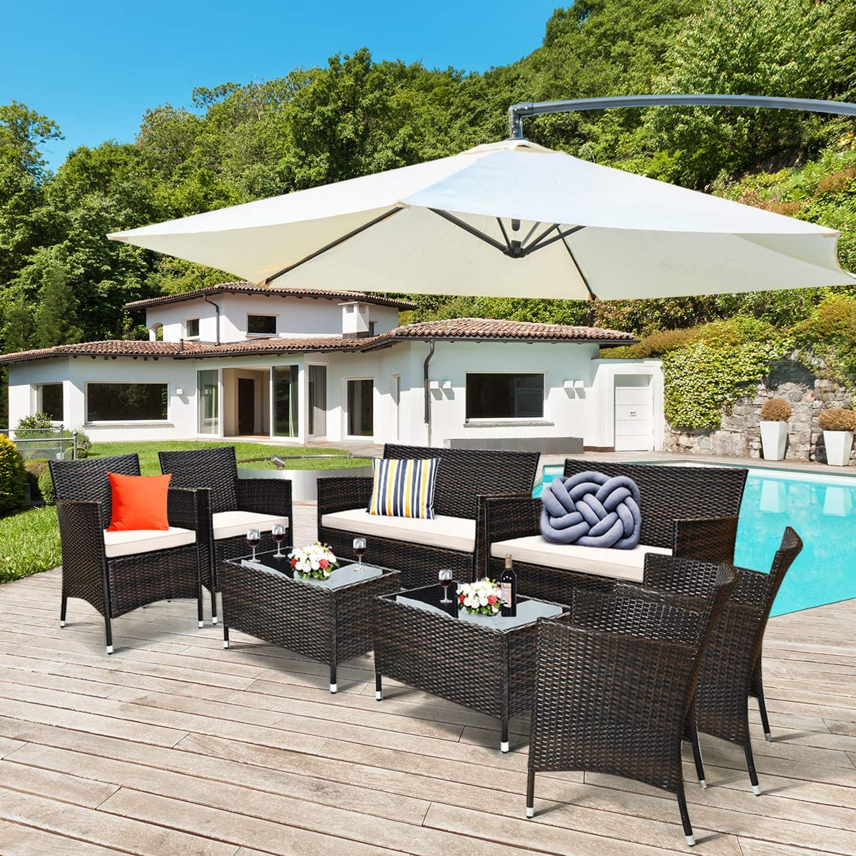 Tangkula 8 PCS Patio Rattan Conversation Set, Outdoor Wicker Furniture Set with Tempered Glass Coffee Table &Thick Cushion, Rattan Chair Wicker Set for Garden, Lawn, Poolside and Backyard (2, Brown)