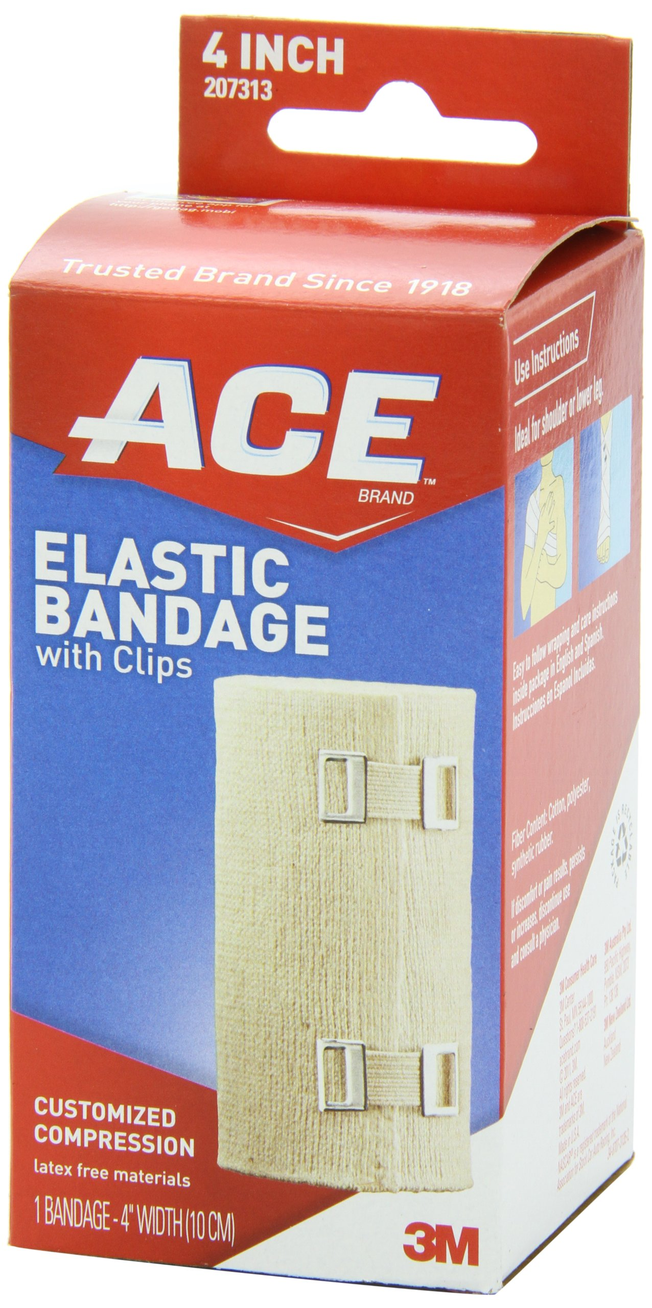 ACE Elastic Bandage with Clips, 4 Inches, 1-Count