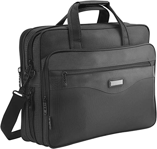 Laptop Bag 15.6 inch, Mens Laptop Briefcase, Expandable Carry on Computer Case, Business Office Attache, Zokaliy Lightweight Water Resistant Shoulder Messenger Bag for MacBook Acer HP Dell, Black