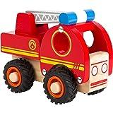 liten fot 11075 brandmotor gjord av trä, lätt att hålla, med tysta gummihjul, från 18 månader fram