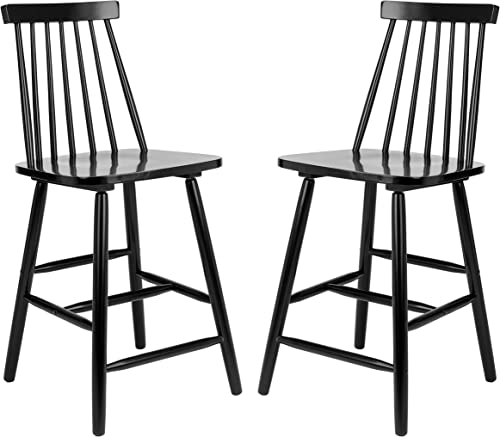 Safavieh Home Collection Beaufort Spindle Back Black Counter 24-inch Stool Set of 2