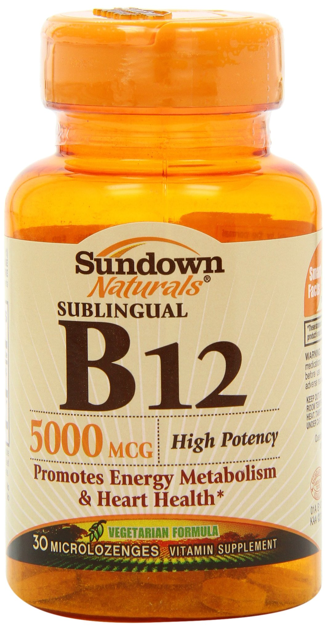 Sundown Naturals High Potency Sublingual B12, 5000 mcg, 30 Tablets (Pack of 3)