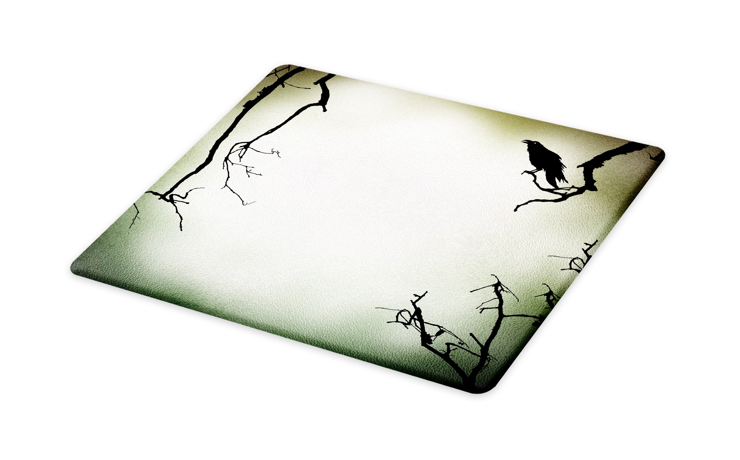 Lunarable Horror House Cutting Board, Crow Bird on Leafless Branch Cemetery Death Spirit Animal Evil Raven Funeral, Decorative Tempered Glass Cutting and Serving Board, Small Size, Sepia Black