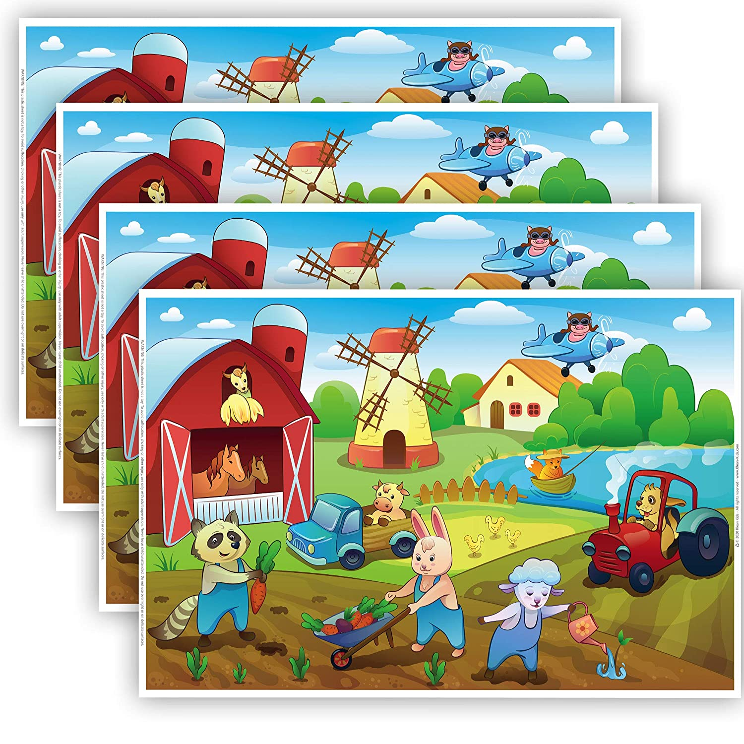 Farm Animals Disposable Placemats for Kids That Stick - Baby Eating Supplies, Toddler Placemat, Sticky Kids Placemat, Baby Food Mat, Plastic Placemats, Travel Baby Essentials, Baby Placemat (40 Pack)
