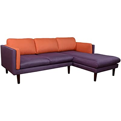 Beverly Furniture Augustine Right Chaise L Shape Sofa, Blue and Orange