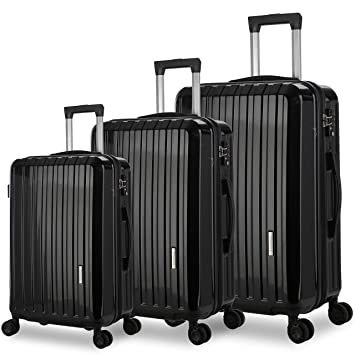 "82c88f800cd8 DFAVORS Luggage Set 3 Piece Suitcase Set Lightweight Spinner Hard shell  Suitcases with TSA Lock (20""/24""/28"") (black)"