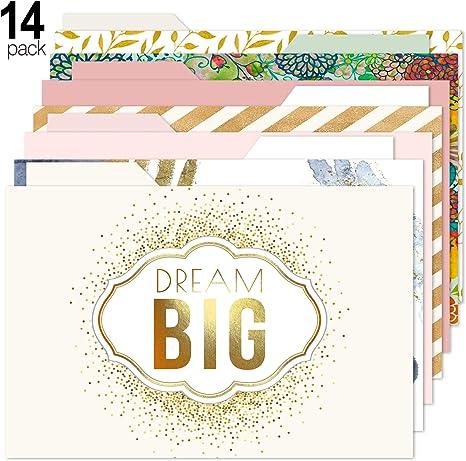 Letter Size Paper Junkie Geometric Gold Foil Decorative File Folders 6 Designs