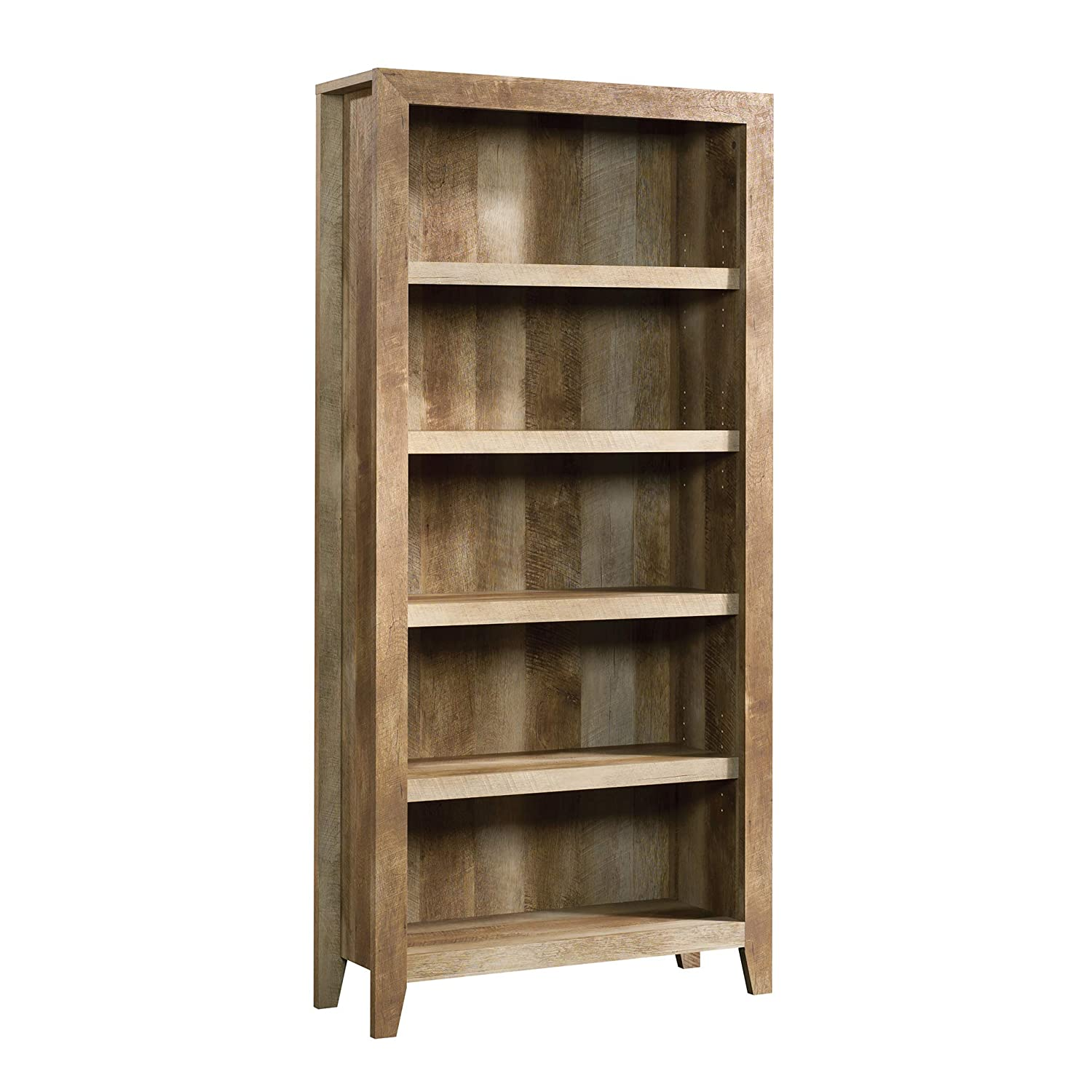 "Sauder 418546 Dakota Pass 5-Shelf Bookcase, L: 33.78"" x W: 12.52"" x H: 71.1, Craftsman Oak finish"
